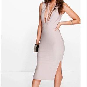 Strapped Neckline Midi Dress